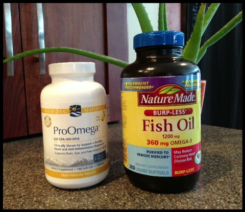 ProOmega on the left is my NEW fish-oil supplements.  The Naturemade brand I used to get, were from Target.
