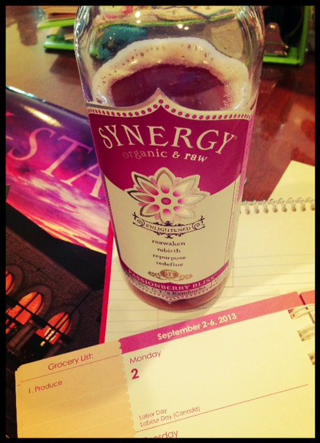 "I've been working on my work calendar, planning for the new year.  I don't know the last time I was able to plan ahead!  That new Synergy flavor is awesome too!  ""Passionberry Bliss"" YUM."
