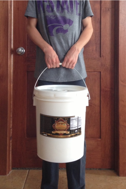 Our latest 5 gallon bucket of Tropical Traditions.  A Christian company that delivers and excellent product.