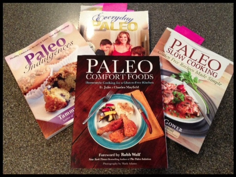 Everyday Paleo (top center) is one of my favorites!  You can see the sticky notes in some of them - lots of pages marked!!