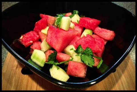 Despite the calendar saying SPRING is here.  It's not here yet.  I made some watermelon/cucumber/cilantro salad to pretend anyone! #denial