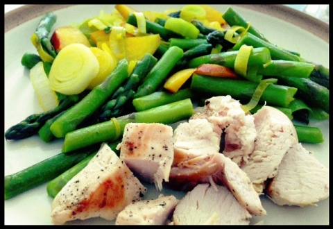 Golden beets served with leeks, asparagus, and organic chicken!