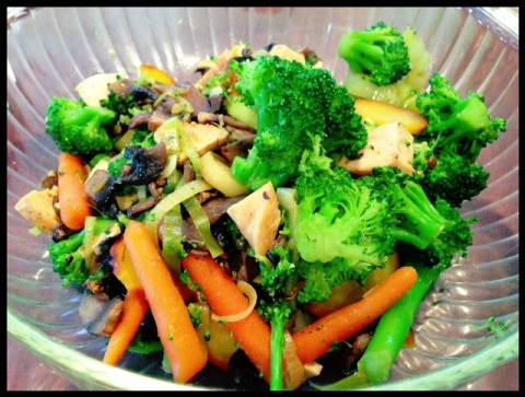 YUM!  My lunch yesterday.  Lots of steamed veggies!