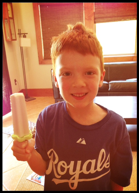 Yummy treat and bed-head to boot!  Get this boy a haircut with all of the money you saved on store-bought popsicles!!