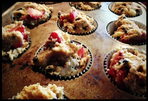 "Right before they went into the oven.  My kids like ""poofy"" muffins - so I try to fill them up past the muffin cup top."