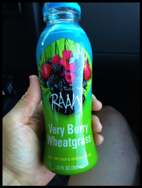 Don't have fresh juice on hand?  This Very Berry Wheatgrass juice is SO yummy, and only 9 grams of sugars.  (The lowest one RAAW makes!)  Wheatgrass IS gluten-free... I know, it sounds crazy but it's SO good for you.