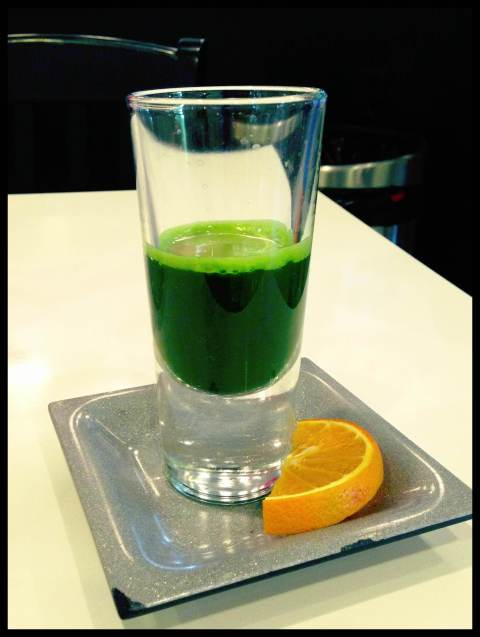 A shot a of wheatgrass.  The only type of shots I will have.  Something that builds up my health, and my immune system.