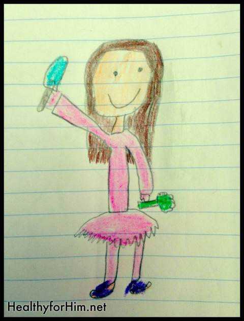 My 9 year-old drew a picture for my 3 year to color the other day.  HE said it was me.  With a spatula in one hand for cooking and a piece of broccoli in the other hand.  (And you know, I wear a tutu everyday, who doesn't?)