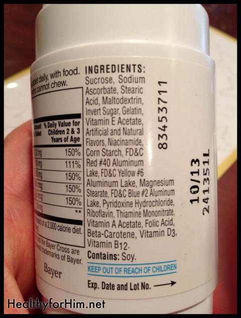 "Yikes huh?  Sugar, sugar, and more sugar.  Artificial colors galore, corn and soy.  At the very end is the vitamins...  I guess when they say ""A spoonful of sugar helps the medicine go down!""  They weren't lying!"