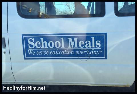 I had my son take a picture of this van that pulled up beside us the other day.  They had quite a chuckle regarding just the education aspect that is served in our government run schools.  Make sure you get your whole grains!